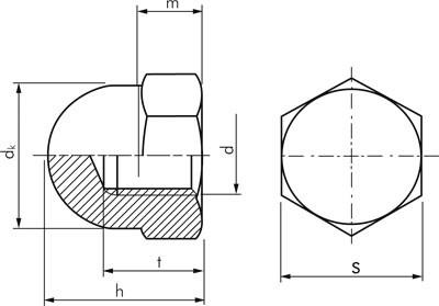 Гайка колпачковая DIN 1587 оцинкованная