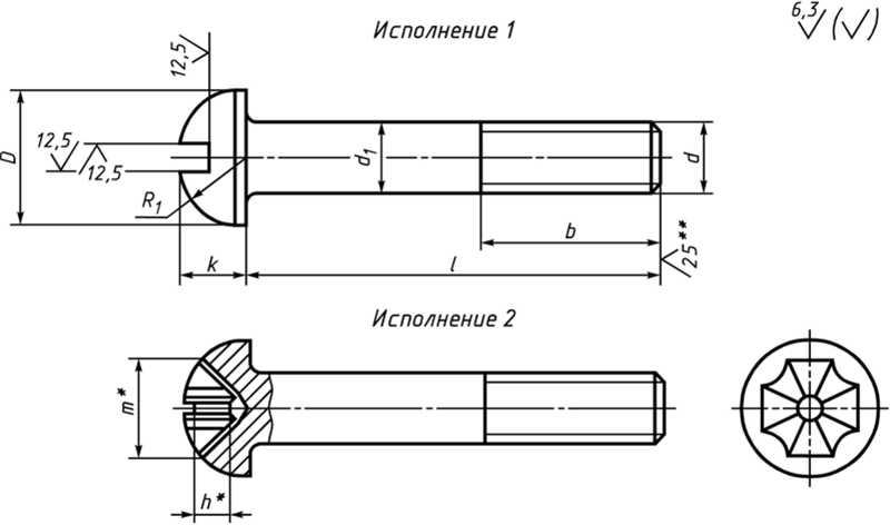 Гост 17473-80 винты с полукруглой головкой классов точности а и в.